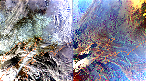 The latest Parasol picture, a set of two pictures in natural light (left side) and polarized light (right side) above the Kantchatka peninsula between the Okhotsk Sea to the left and the Bering Sea to the right.