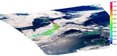 Illustration of Parasol capability to detect and quantify the presence of a layer of aerosols above cloudy areas.